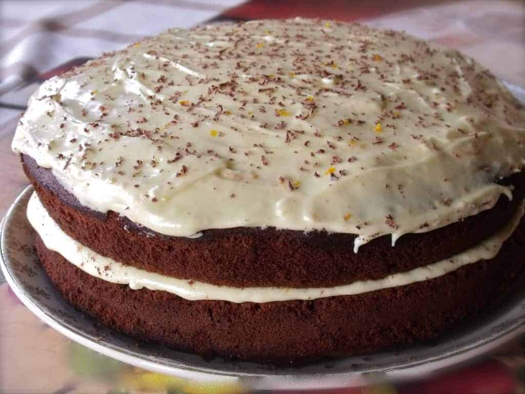 Chocolate and Ginger Cake with orange icing