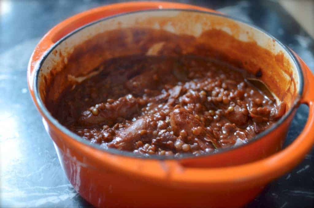 sausage and lentil stew - Grown Up Beans and Sausages