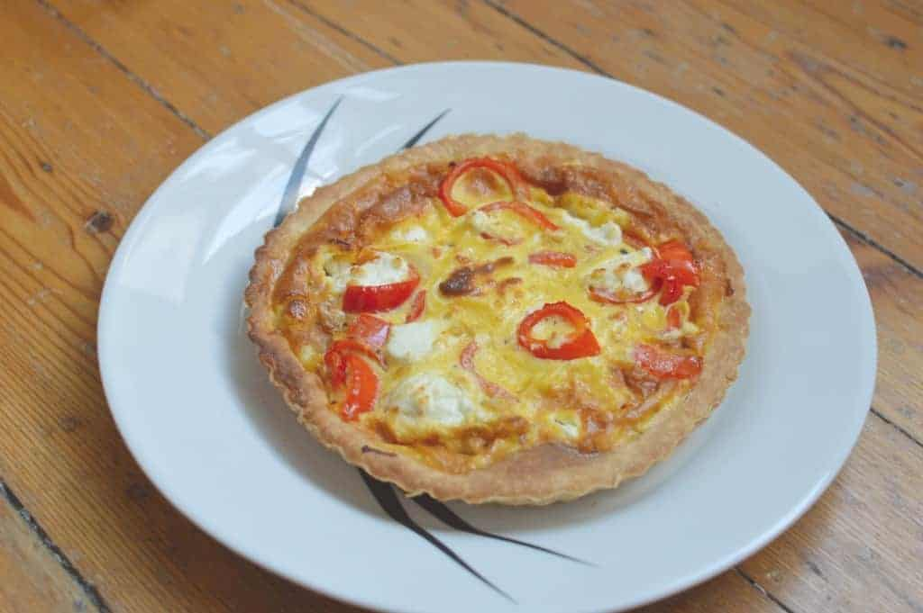 Romano Pepper and Goats Cheese Quiche