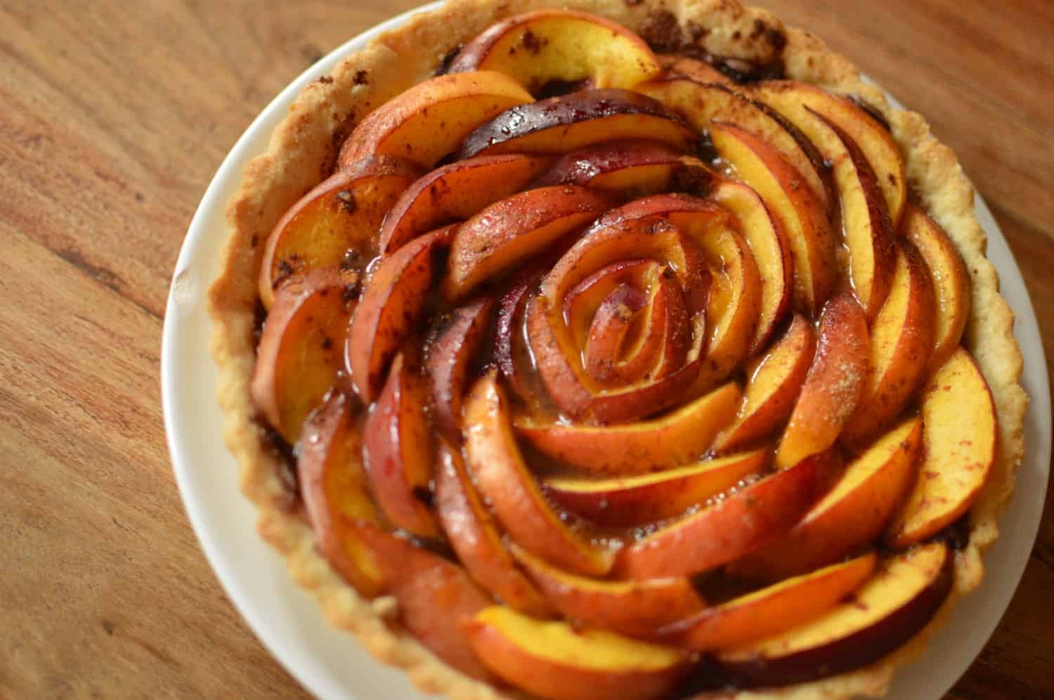 Peach Tart with Cinnamon & Nutella