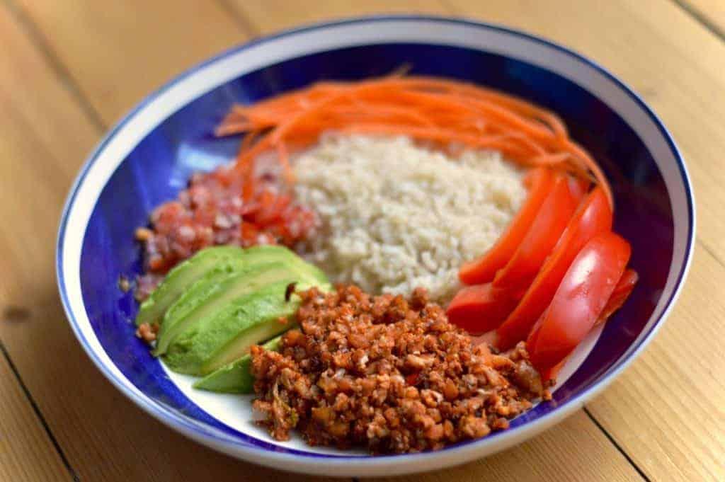 Cauliflower taco bowl