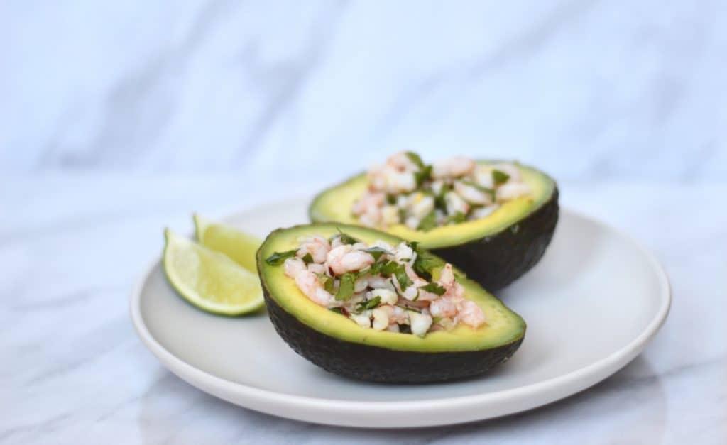 prawn ceviche in an avocado