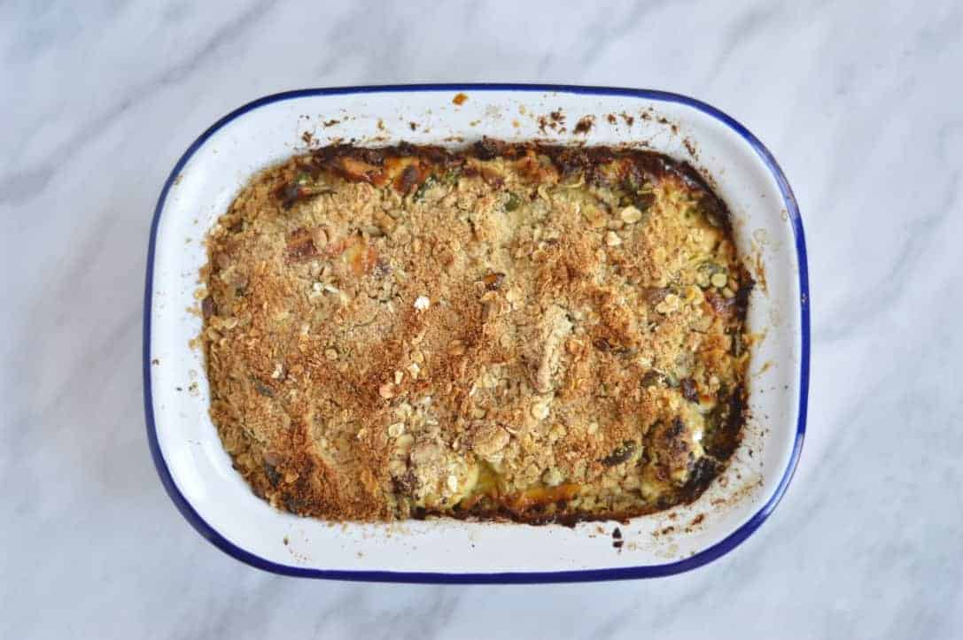 cauliflower crumble with broccoli and goats cheese