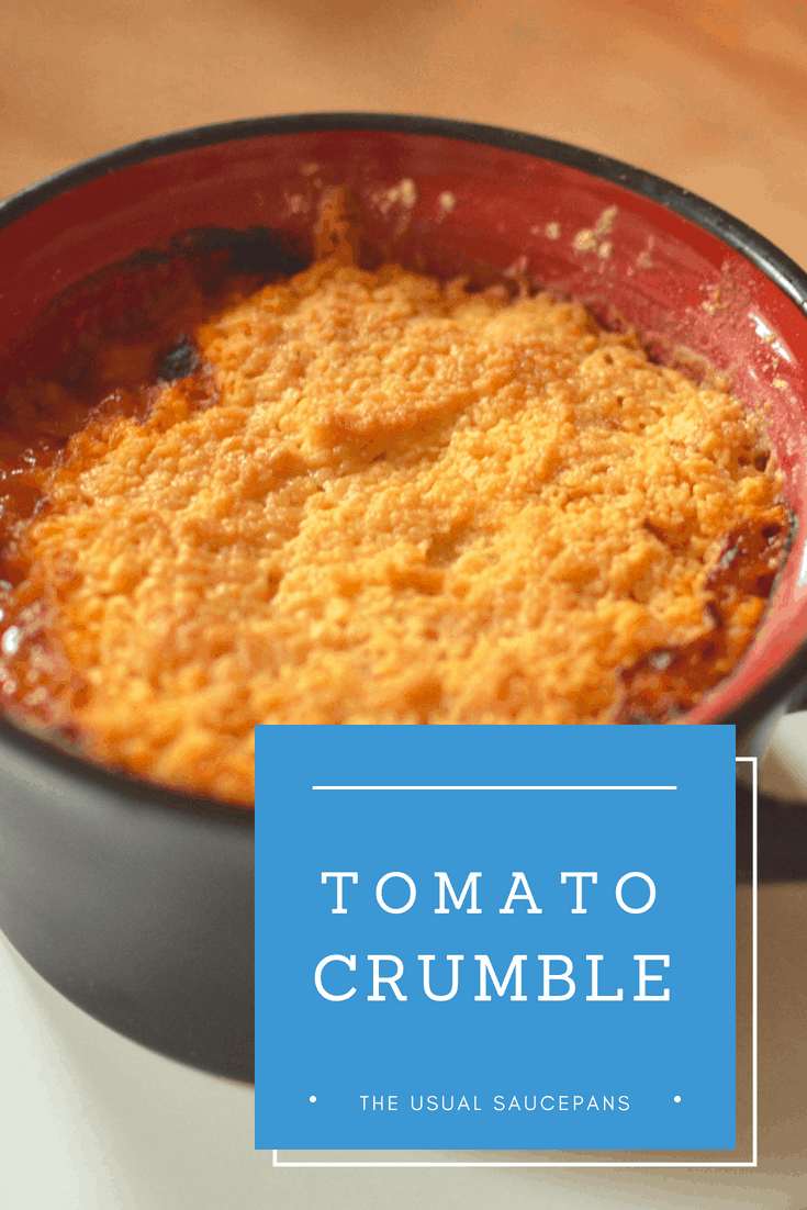 tomato crumble recipe pin